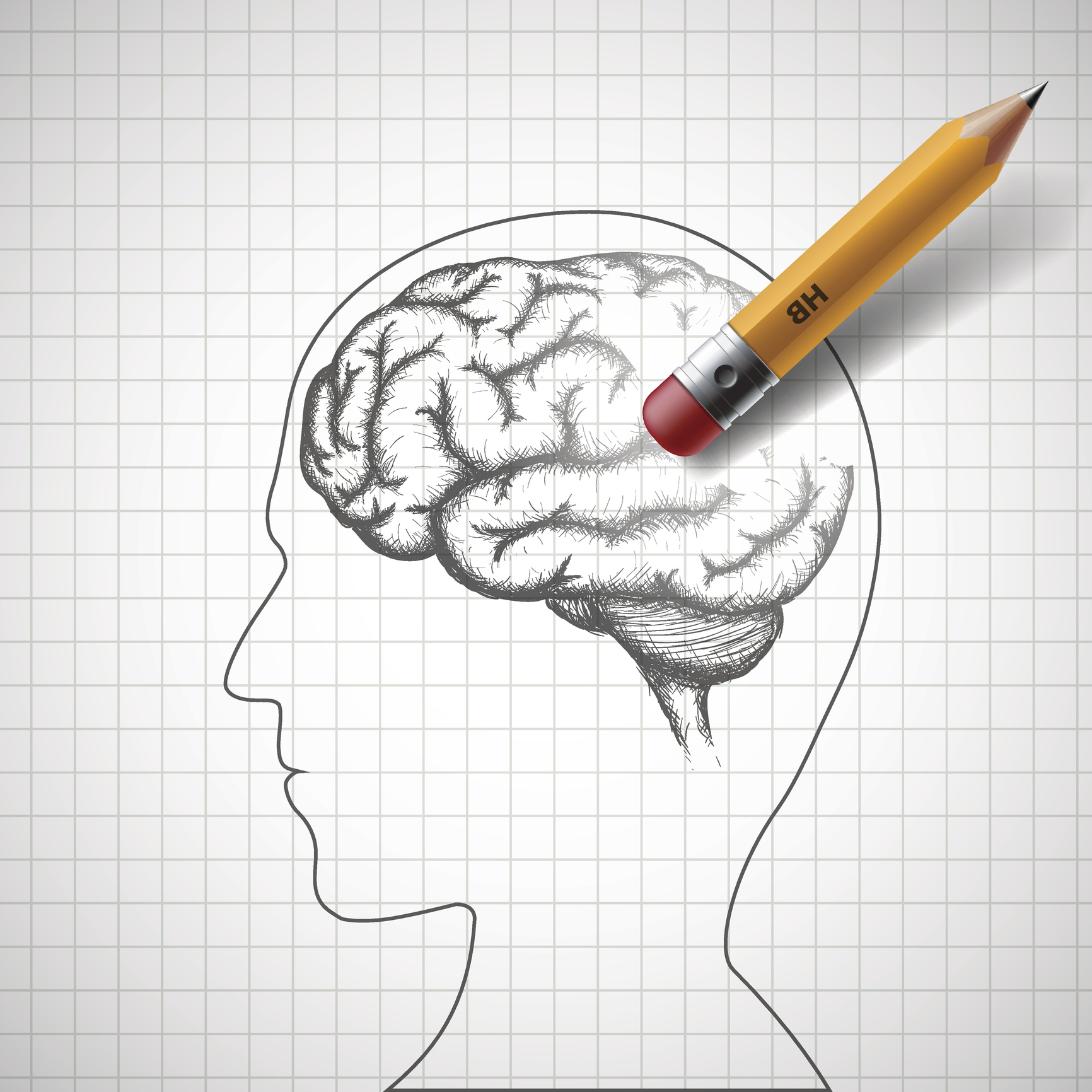 Pencil erases the human brain. Alzheimer disease.